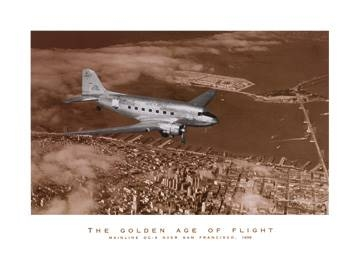 Reprodukce obrazu 70 x 50 / Mainline DC-3 over San Francisco ( Bourke-White Margaret )