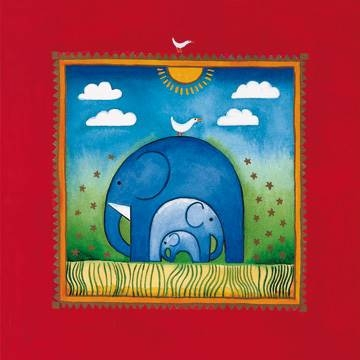 40 x 40 / Three little elephants ( Edwards Linda )