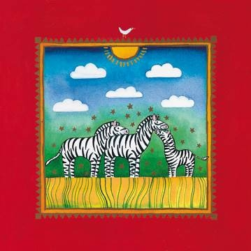 40 x 40 / Three little zebras ( Edwards Linda )