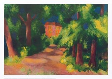 Reprodukce obrazu 70 x 50 / Rotes Haus im Park ( Macke August )