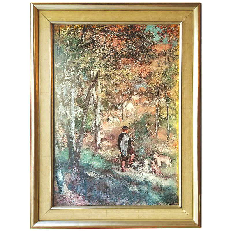 zarámovaný obraz  -  Myslivec v lese | Renoir | rozměr: 102x43 cm | nový