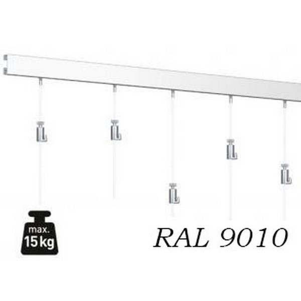 Závesný systém na obrazy, Atiteq, SET RAL9010 3m (6x perlon Click2Fix, Ratchet hook) Click-Rail